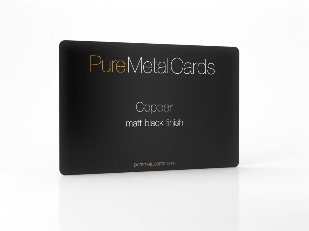 Pure Metal Cards matt black copper business card