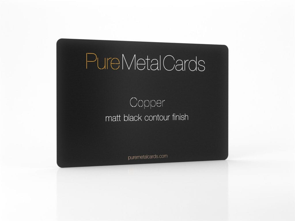 Pure Metal Cards matt black contour copper business card