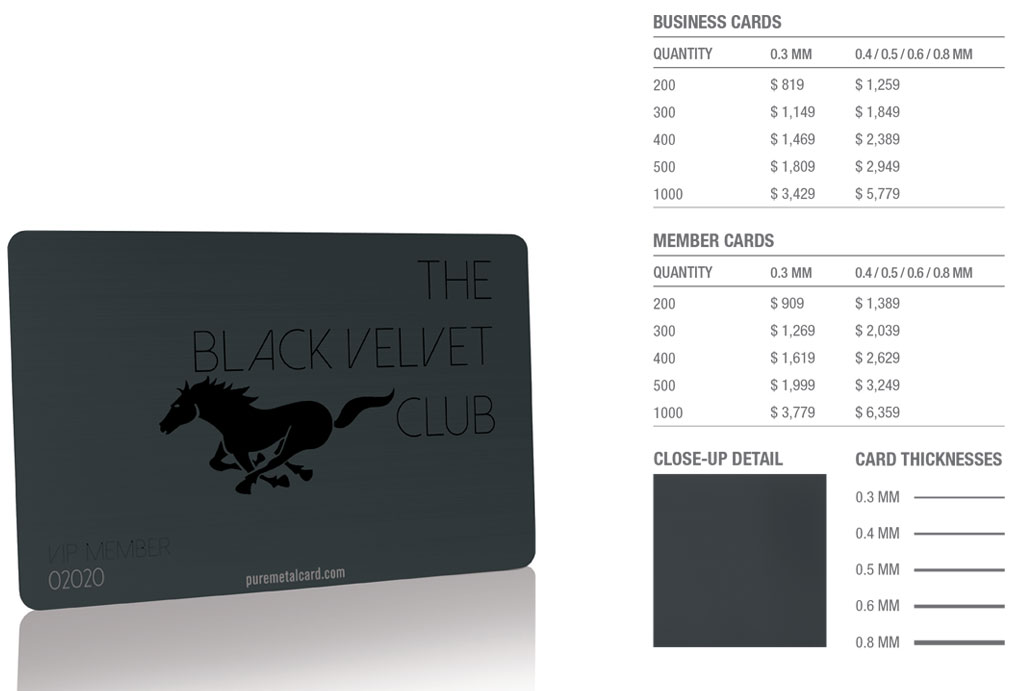 Matt Black Velvet Stainless Steel Cards