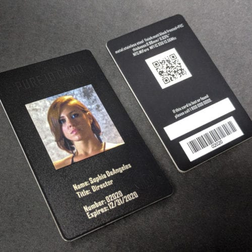 Pure Metal Cards matt black frosted metal Photo ID card
