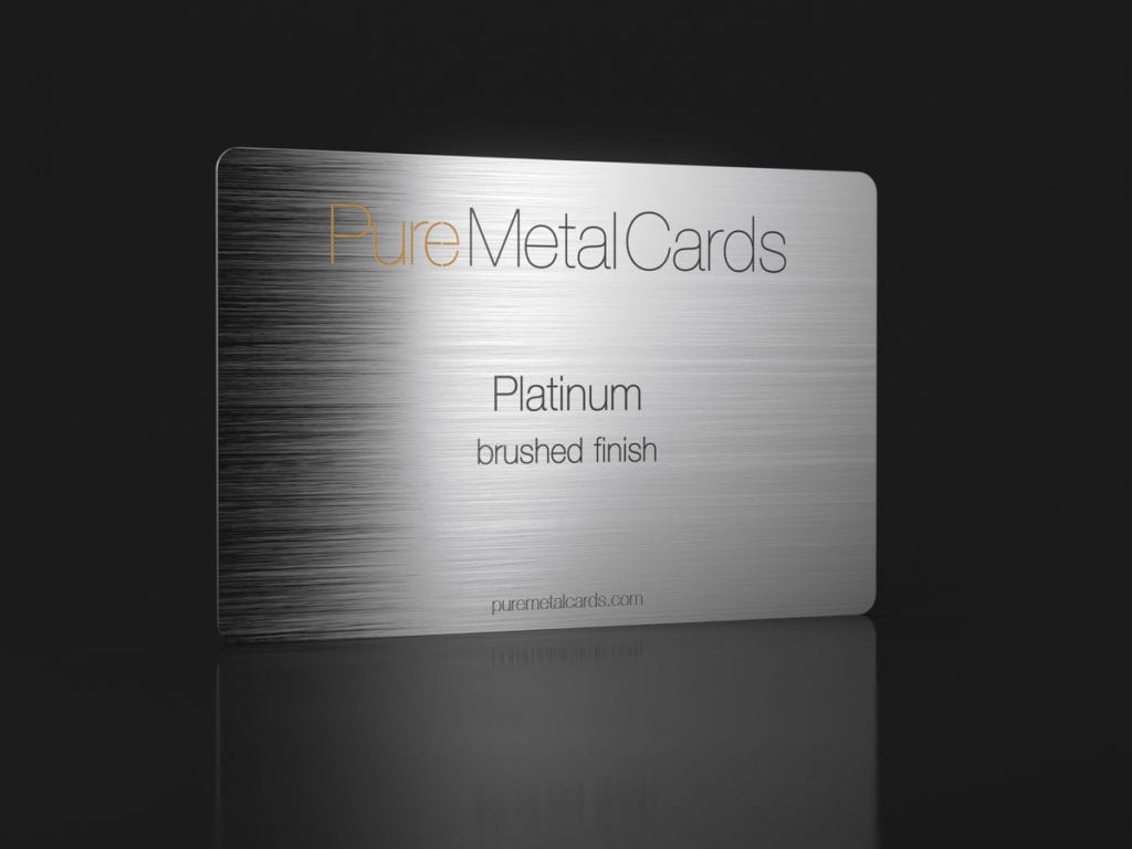 Pure Metal Cards platinum business card