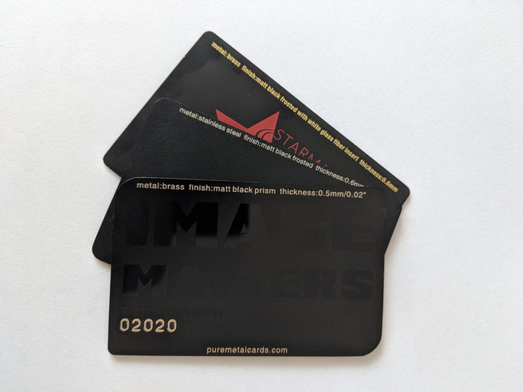 Pure Metal Cards - matt black metal card finishes