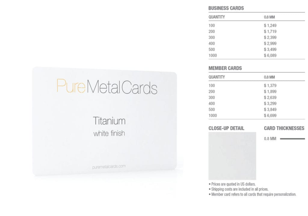 White Titanium Cards