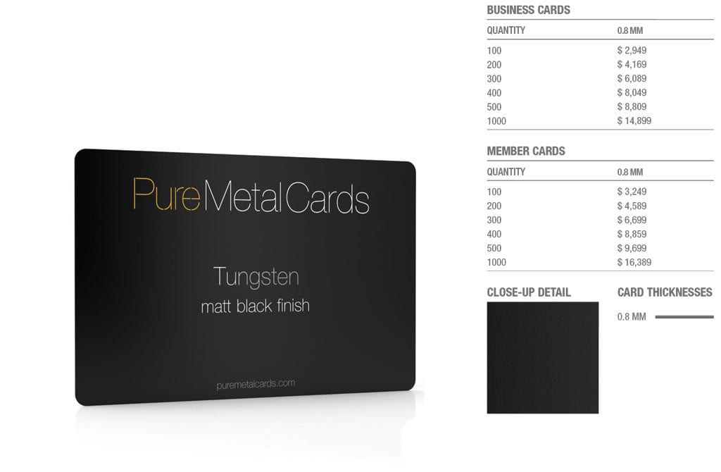 Matt black Tungsten Cards
