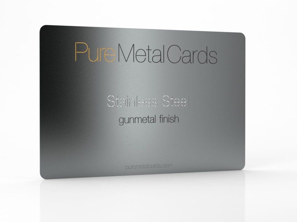 Pure Metal Cards Gunmetal Gray Stainless Steel Card