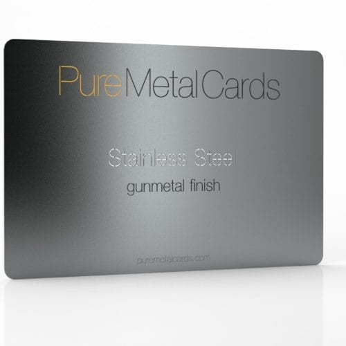 Pure Metal Cards Gunmetal Gray Stainless Steel Card