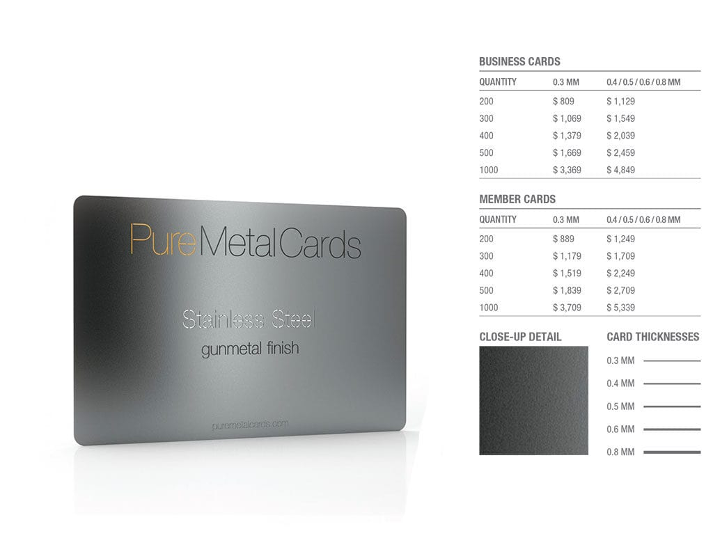Gun Metal Gray Stainless Steel Business Cards