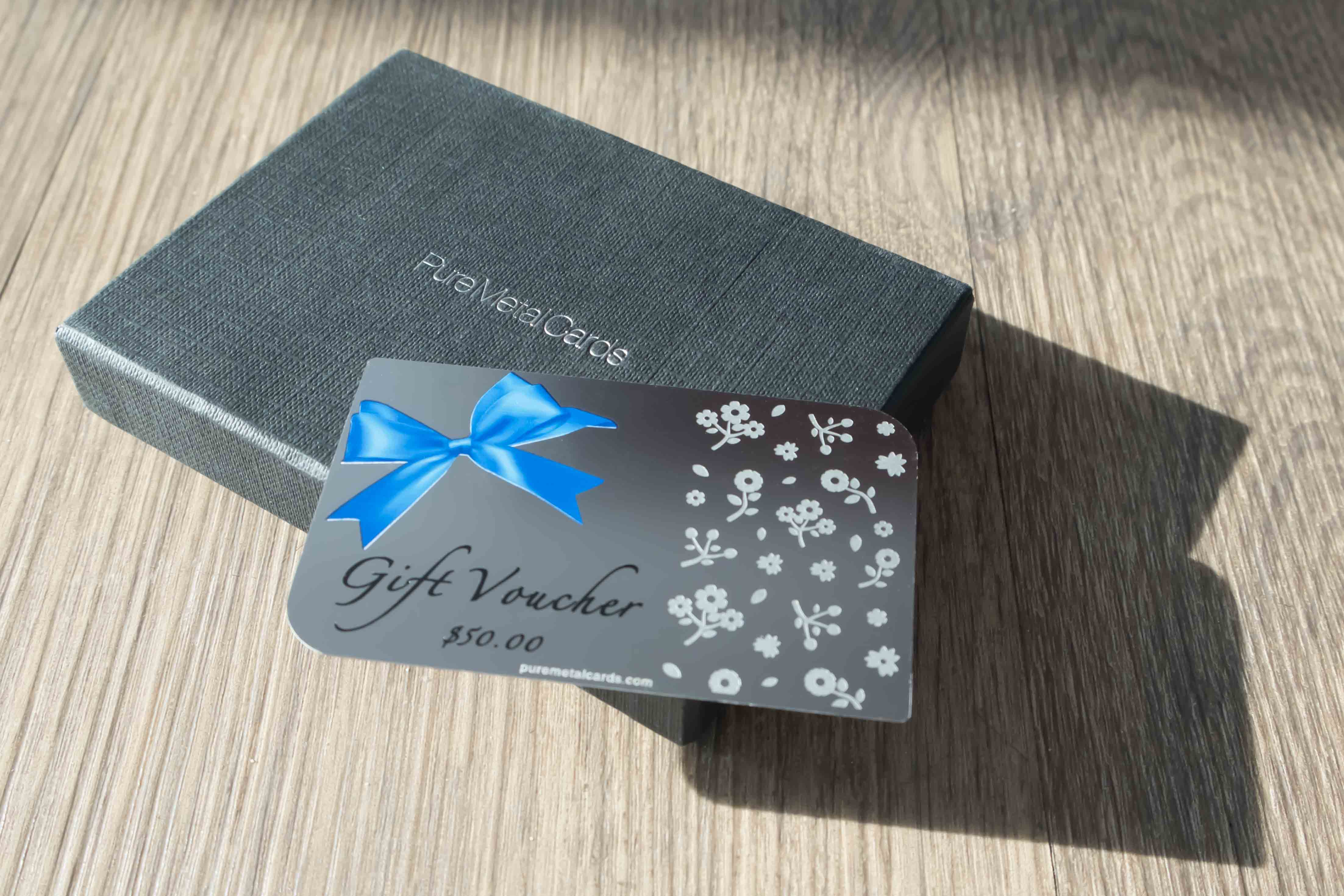 Pure Metal Cards - standard stainless steel gift voucher card