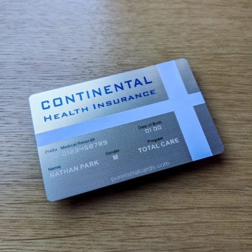 Pure Metal Cards silver prism stainless steel heath ID card