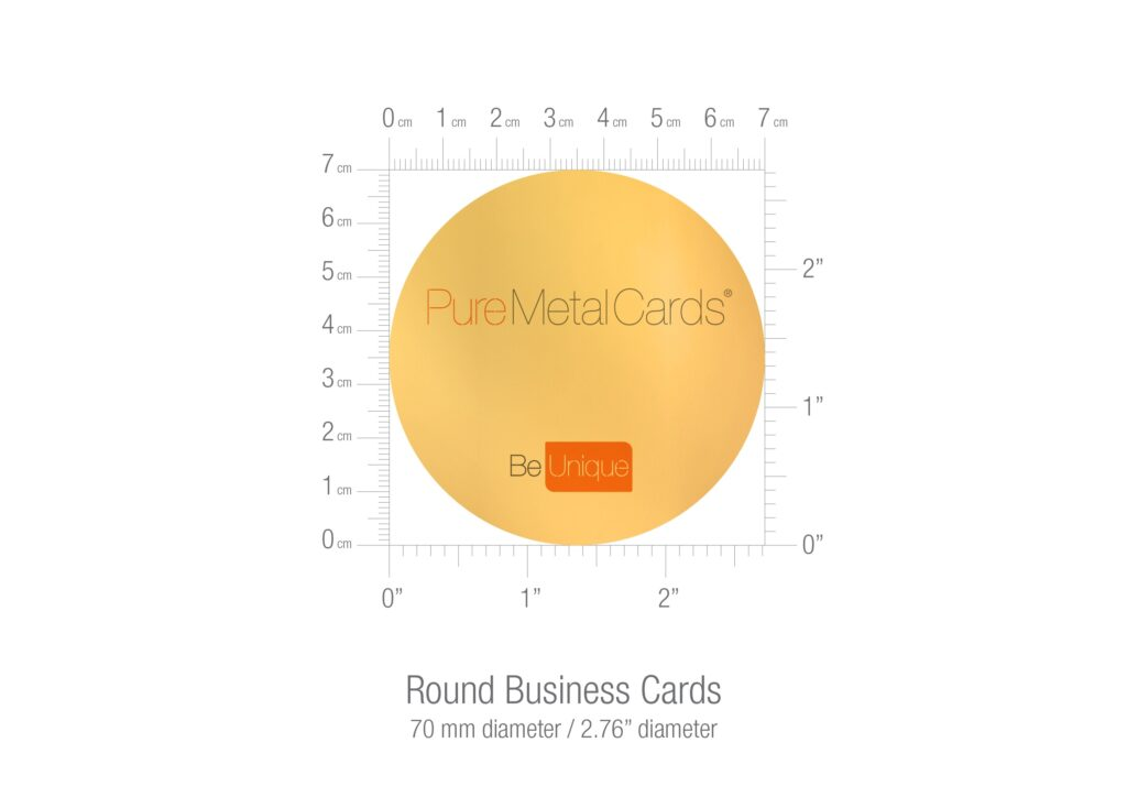 Pure Metal Cards round business card size