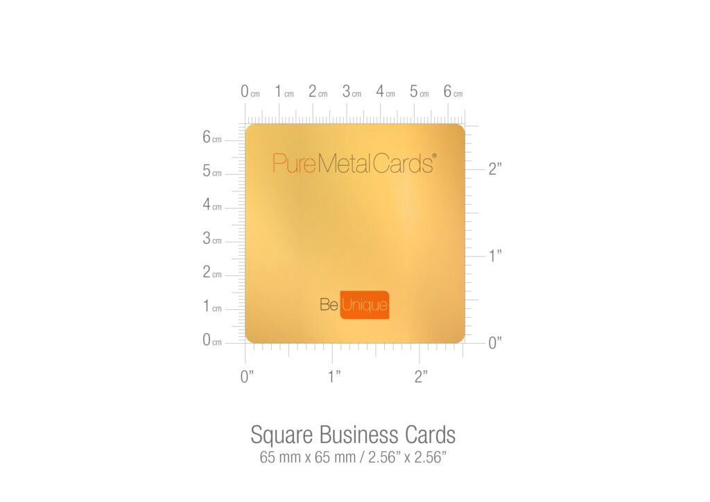 Pure Metal Cards square business card size